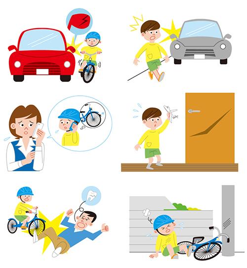 車の事故、自転車と人の衝突などを描いたイラスト