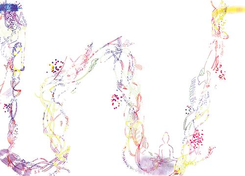 ヨガの呼吸のイメージイラスト