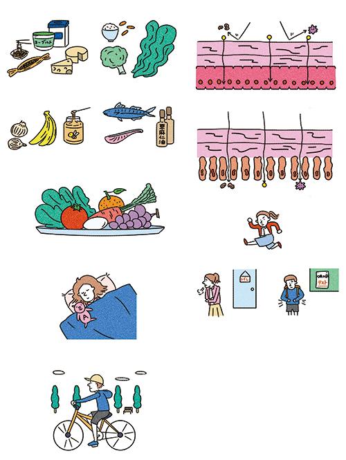 食べ物や子供、細胞のイラスト