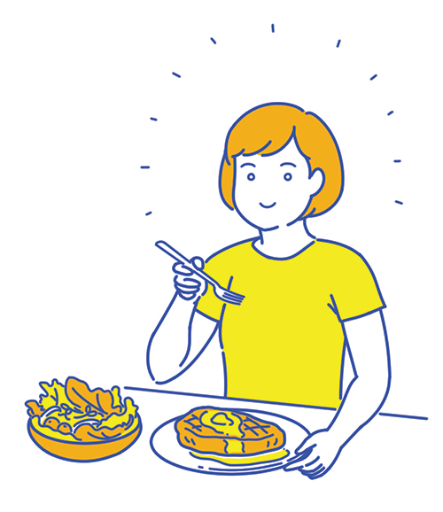 スーチーが食事している女性のイラスト