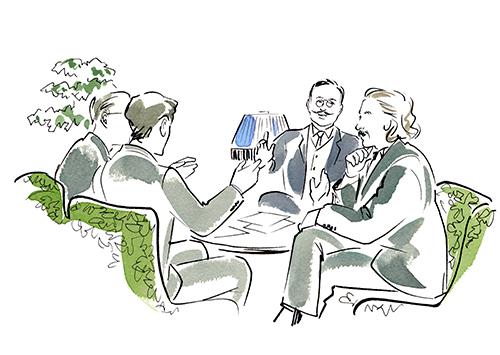 男性3人が部屋の中で会話しているイラスト