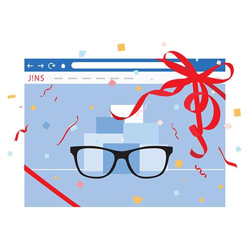 パソコンの画面にうつるメガネのイラスト