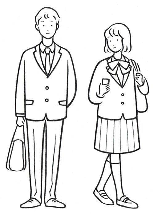 男子高生と女子高生のイラスト