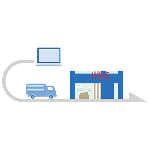 トラックとJINSの店舗イラスト