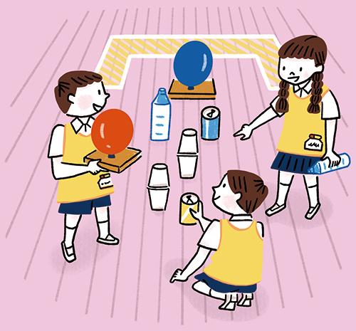 子供達のグループがボウリングをしているイラスト