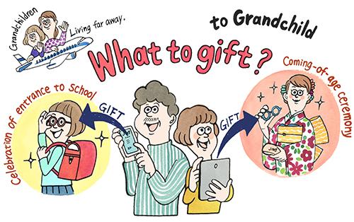 タブレットやスマホをつかってプレゼントを送るお父さんとお母さん
