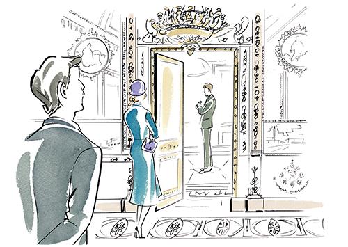 豪華な部屋に佇む男性と女性のイラスト