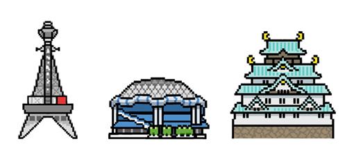 ドット絵風に描いた通天閣、大阪ドーム、大阪城のイラスト