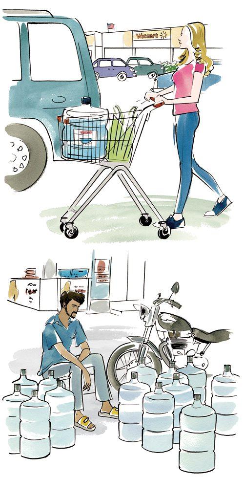 買い物している女性