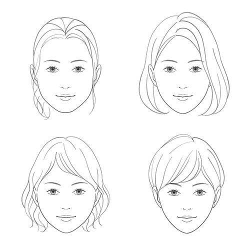 線画で描いた女性の顔イラスト