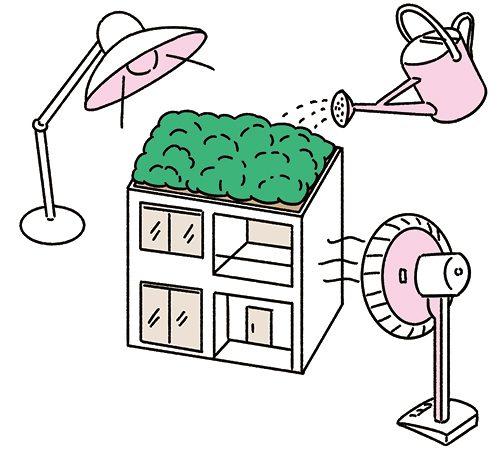 マンションとライトとじょうろと扇風機のイラスト