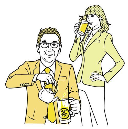 お酒を飲む会社員の男性と女性