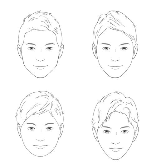 線画で描いた男性の顔イラスト