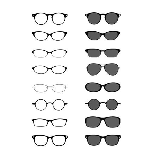 メガネとサングラスのイラスト