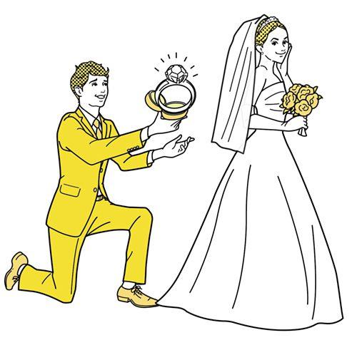 花嫁と花婿のイラスト