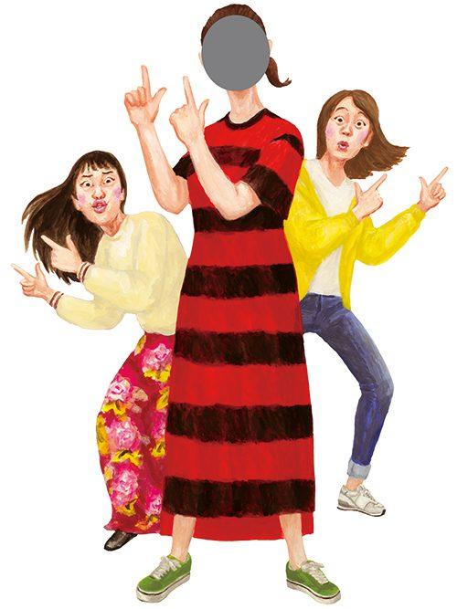 変な顔をしてポーズをとる3人の女性のイラスト