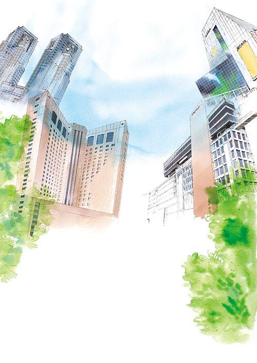 新宿の街の風景イラスト