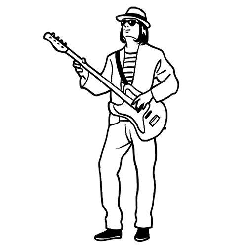 ギターを弾く男性の線画イラスト