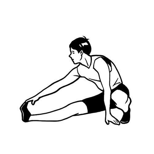 ストレッチをする男性の線画イラスト