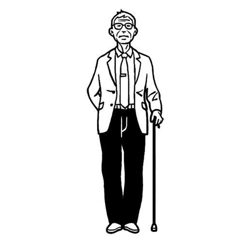 高齢男性の線画イラスト