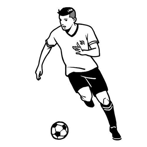 サッカー選手の線画イラスト