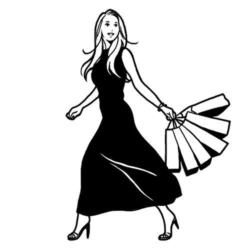 ショッピングをする女性の線画イラスト