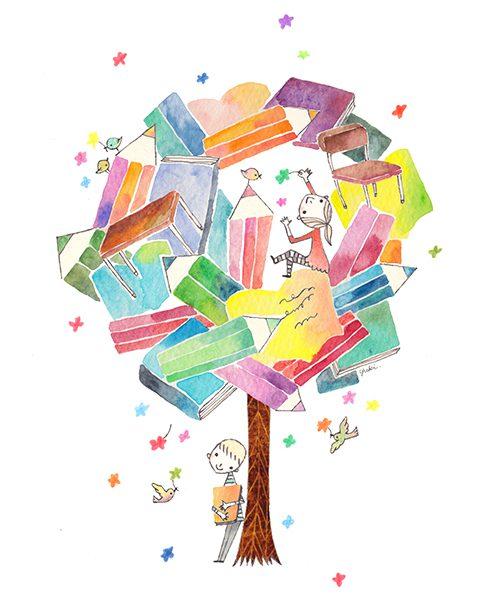 木と文房具と子供のイラスト