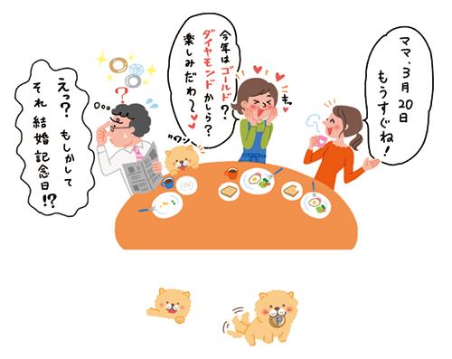 家族で食事しているシーンイラスト