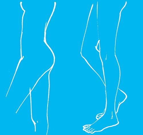 腰から足を描いたシルエットのイラスト