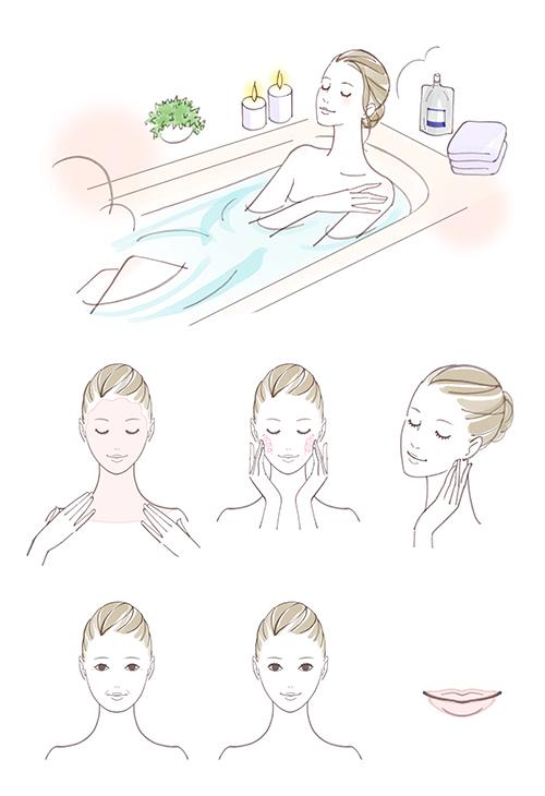 お風呂に入る女性と洗顔している女性のイラスト