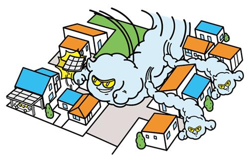 街の俯瞰図と雲