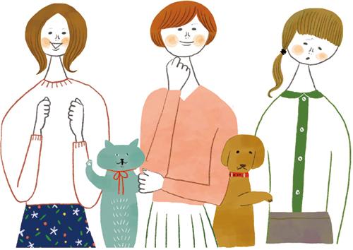 主婦3人と犬と猫のイラスト