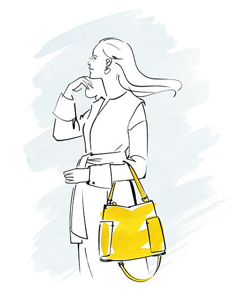 バッグを持った女性のイラスト