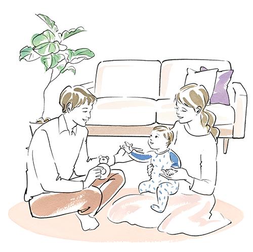 部屋でくつろぐ夫婦と子供のイラスト