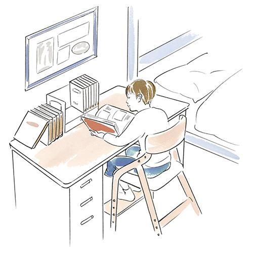 部屋で勉強している小学生のイラスト