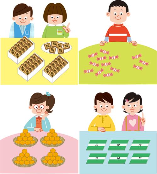 小学4年生の机に置いてあるお菓子と男の子と女の子のイラスト