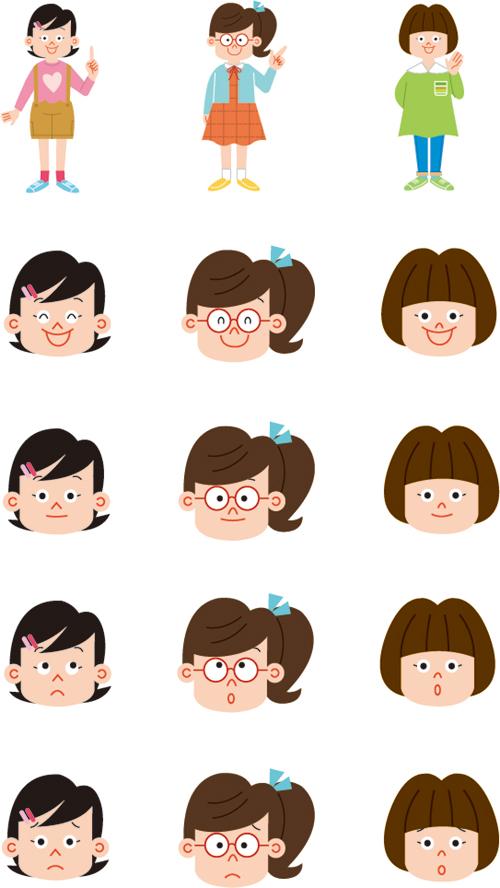 小学生の女の子と顔の表情別イラスト