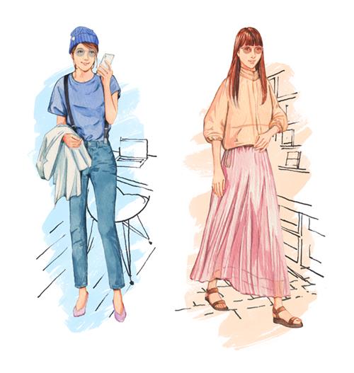 おしゃれな女性のファッションイラスト