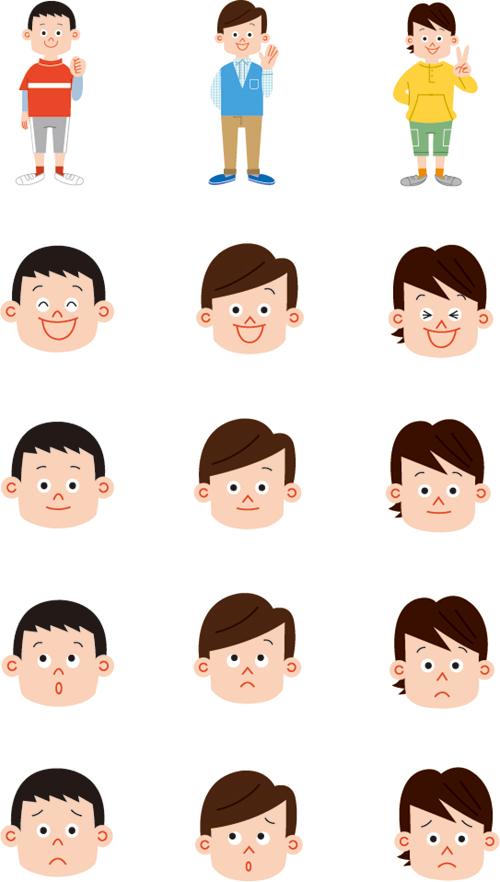 小学生の男の子と顔の表情別イラスト