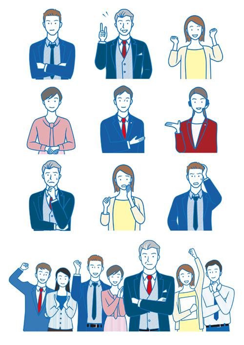 男性や女性の会社員のイラスト