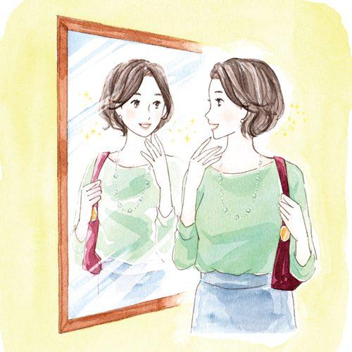 鏡でチェックする女性のイラスト