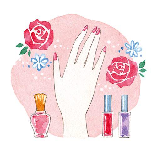 手と化粧品とお花のイラスト