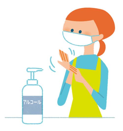 マスクをして手洗いをする先生と子供達