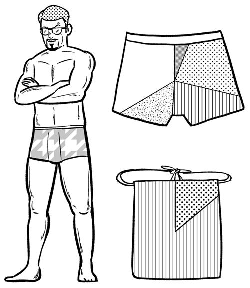 パンツをはいた男性のイラスト