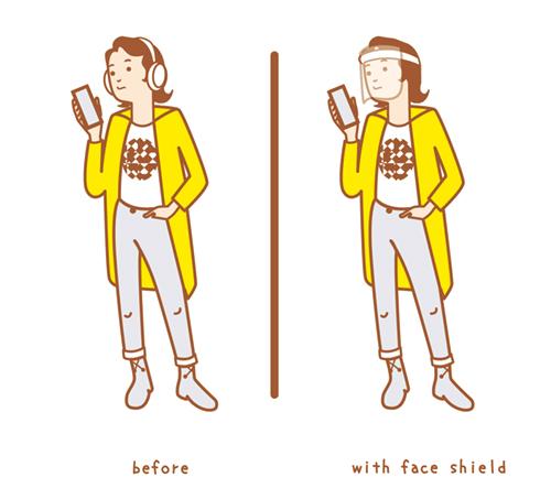 シールドマスクをした女性