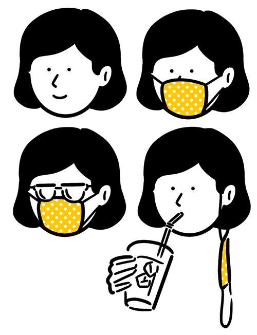 マスクを着用している女性のイラスト