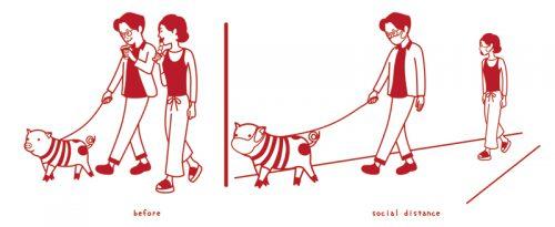 マスクをし、ソーシャルディスタンスをとる犬の散歩をしているカップル