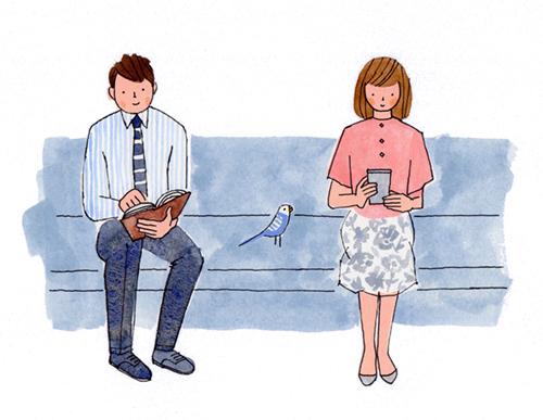 電車でソーシャルディスタンスをとる乗客のイラスト
