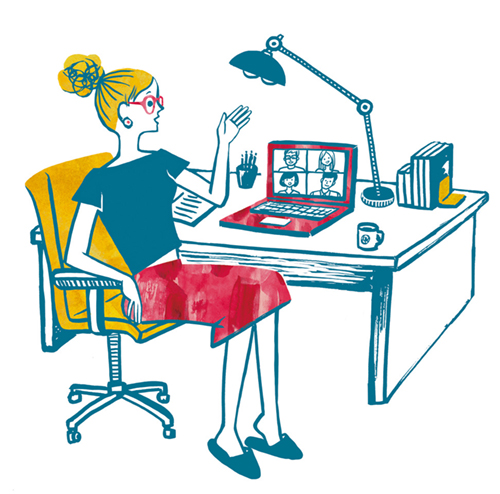 ZOOMでビデオ会議をしている女性のイラスト