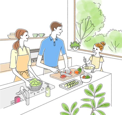 家族で料理をしているイラスト